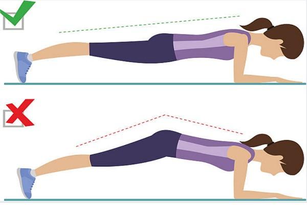 Đẩy mông cao là tư thế sai khi tập plank bụng